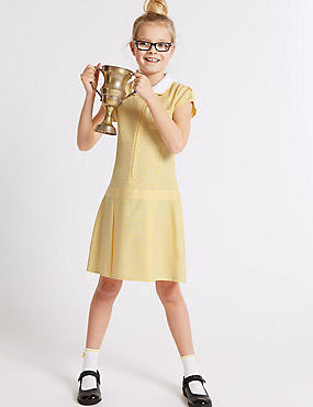 Girls' Pleated Gingham Dress, YELLOW, catlanding