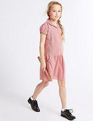 2 Pack Girls' Easy to Iron Summer Gingham Checked Dress, RED, catlanding