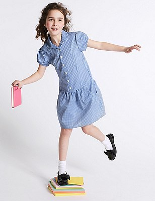 2 Pack Girls' Easy to Iron Summer Gingham Checked Dress, BLUE, catlanding