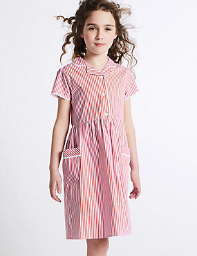 Girls' Classic Summer Striped Dress, PINK, catlanding