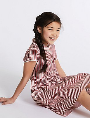 Girls' Classic Summer Striped Dress, RED, catlanding