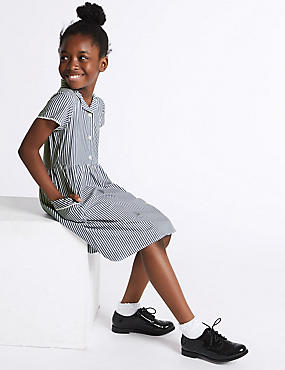 Girls' Classic Summer Striped Dress, NAVY, catlanding