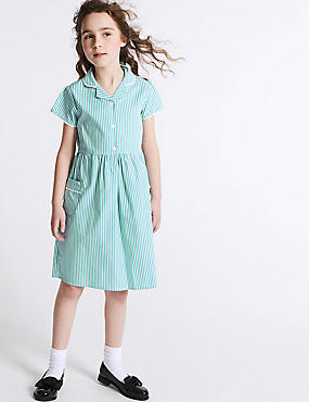 Girls' Classic Summer Striped Dress, GREEN, catlanding