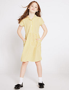 Girls' Classic Summer Striped Dress, YELLOW, catlanding