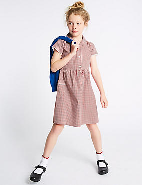 Girls' Classic Summer Gingham Dress, RED, catlanding