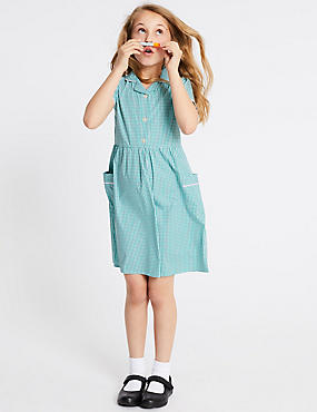 Girls' Classic Summer Gingham Dress, GREEN, catlanding