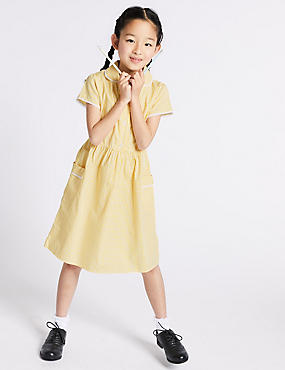 Girls' Classic Summer Gingham Dress, YELLOW, catlanding