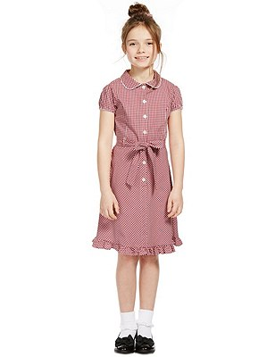 Girls' Pure Cotton Non-Iron Summer Gingham Checked Dress with Hairband, RED, catlanding