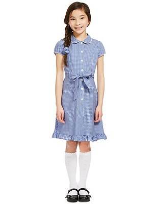 Girls' Pure Cotton Non-Iron Summer Gingham Checked Dress with Hairband, BLUE, catlanding