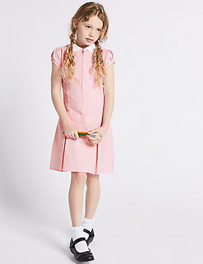 Gingham Pleated Dress (2-14 Years), PINK, catlanding