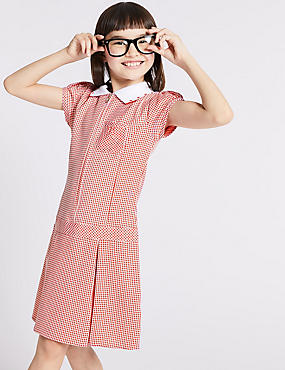 Gingham Pleated Dress (2-14 Years), RED, catlanding