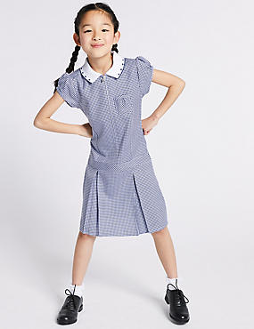 Gingham Pleated Dress (2-14 Years), NAVY, catlanding