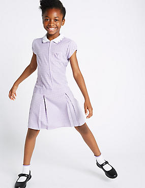 Gingham Pleated Dress (2-14 Years), LILAC, catlanding