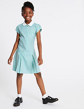 Gingham Pleated Dress (2-14 Years), GREEN, catlanding