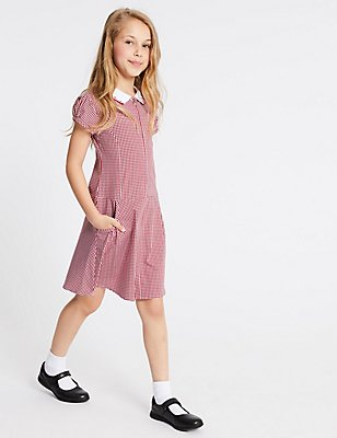 Gingham Pure Cotton Dress (2-14 Years), RED, catlanding