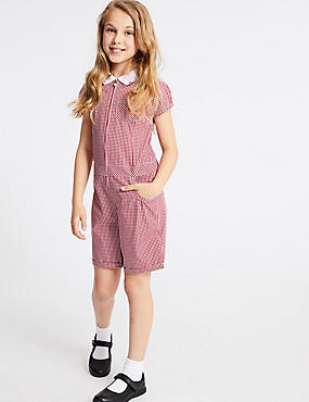 Pure Cotton Checked Playsuit , RED, catlanding