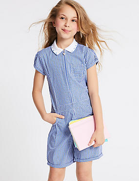 Pure Cotton Checked Playsuit , BLUE, catlanding
