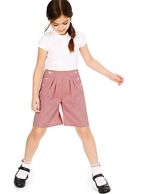 Girls' Gingham Culottes with Crease Resistant , RED, catlanding