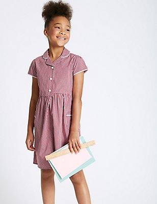 Checked Pure Cotton Dress (3-14 Years), RED, catlanding