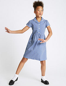 Girls' Pure Cotton Classic Checked Dress, BLUE, catlanding
