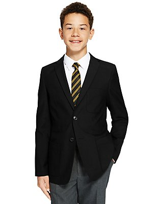 Senior Boys' Slim Fit Blazer, BLACK, catlanding
