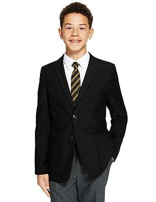 Boys' Senior Fashion Blazer with Triple Action Stormwear™ (Older Boys), BLACK, catlanding