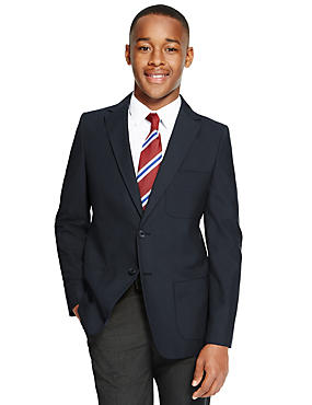 Senior Boys' Crease-Resistant Blazer with Triple Action Stormwear™, NAVY, catlanding