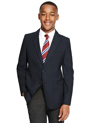 Senior Boys' Crease-Resistant Blazer with Triple Action Stormwear™ (Older Boys), NAVY, catlanding