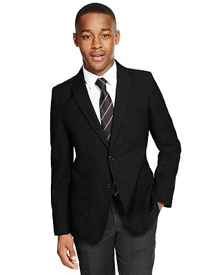 Senior Boys' Crease-Resistant Blazer with Triple Action Stormwear™ (Older Boys), BLACK, catlanding