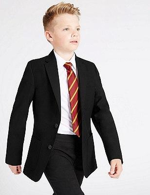 Boys' Longer Length Adjust-a-Cuff Blazer with Triple Action Stormwear™ , BLACK, catlanding
