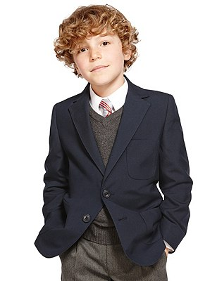 Junior Boys' Adjust-a-cuff Blazer with Triple Action Stormwear™ (Younger Boys), NAVY, catlanding