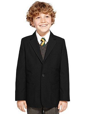 Junior Boys' Adjust-a-cuff Blazer with Triple Action Stormwear™ (Younger Boys), BLACK, catlanding