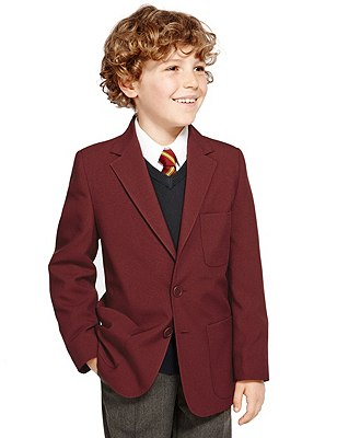 Junior Boys' Crease Resistant Blazer with Triple Action Stormwear™ (Older Boys), BURGUNDY, catlanding