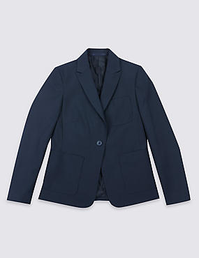 Senior Girls' Slim Fit Blazer, NAVY, catlanding