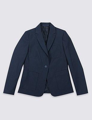 Senior Girls' Slim Fit Fashion Blazer with Triple Action Stormwear™ (Older Girls), NAVY, catlanding