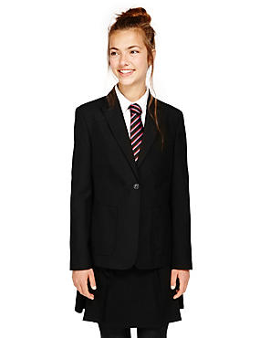 Senior Girls' Slim Fit Blazer, BLACK, catlanding