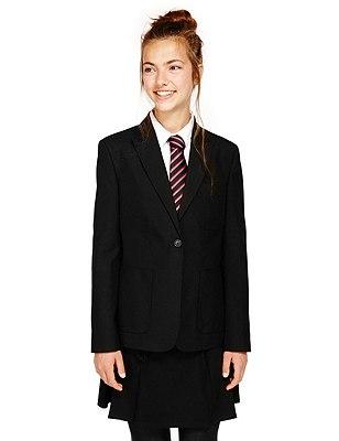 Senior Girls' Slim Fit Fashion Blazer with Triple Action Stormwear™ (Older Girls), BLACK, catlanding