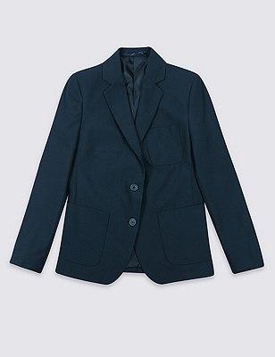 Senior Girls' Adjust-a-cuff Blazer with Triple Action Stormwear™ (Older Girls), NAVY, catlanding