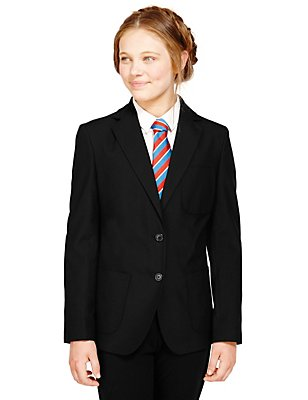 Senior Girls' Adjust-a-cuff Blazer, BLACK, catlanding