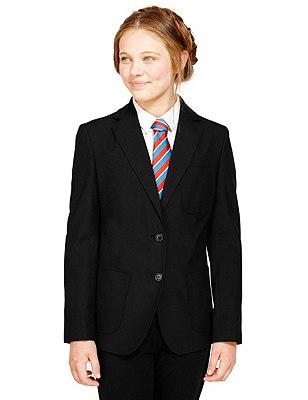 Senior Girls' Adjust-a-cuff Blazer with Triple Action Stormwear™ (Older Girls), BLACK, catlanding