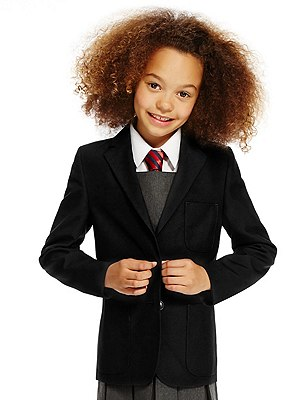 Junior Girls' Crease Resistant Blazer with Triple Action Stormwear™ (Older Girls), BLACK, catlanding