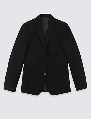 Senior Girls' Plus Fit Blazer, BLACK, catlanding