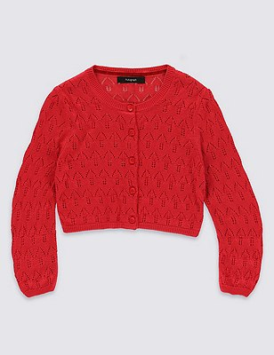 Button Through Pointelle Cardigan (1-10 Years), RED, catlanding