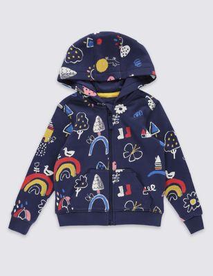 Свитшот из чистого хлопка с капюшоном и разноцветным принтом для девочки 3 мес - 5 лет от Marks & Spencer