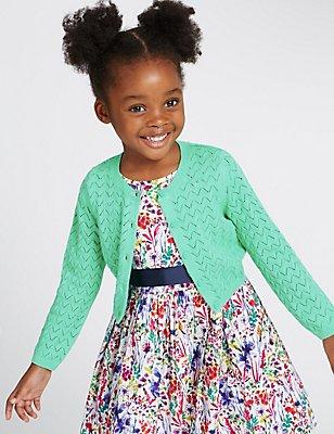 Pure Cotton Crochet Cardigan (1-10 Years), GREEN, catlanding
