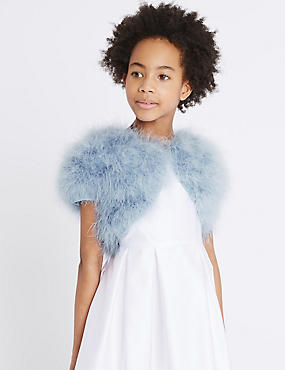 Pure Cotton Marabou Cardigan (4-14 Years) , BLUE, catlanding