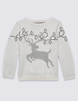 Cotton Rich Christmas Stag Jumper (3 Months - 9 Years), MULTI, catlanding
