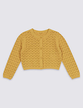 Pure Cotton Crochet Cardigan (3 Months - 8 Years), YELLOW, catlanding
