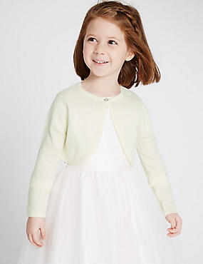 Long Sleeve Bridal Cardigan (1-14 Years) , IVORY, catlanding