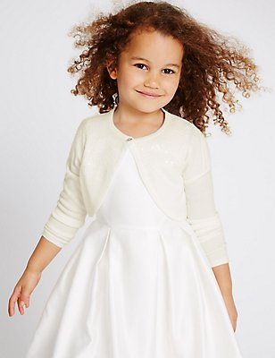 Cropped Front Button Communion Cardigan (5-14 Years), WHITE, catlanding